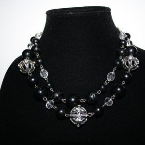 Chunky black and silver layered necklace 16-19""